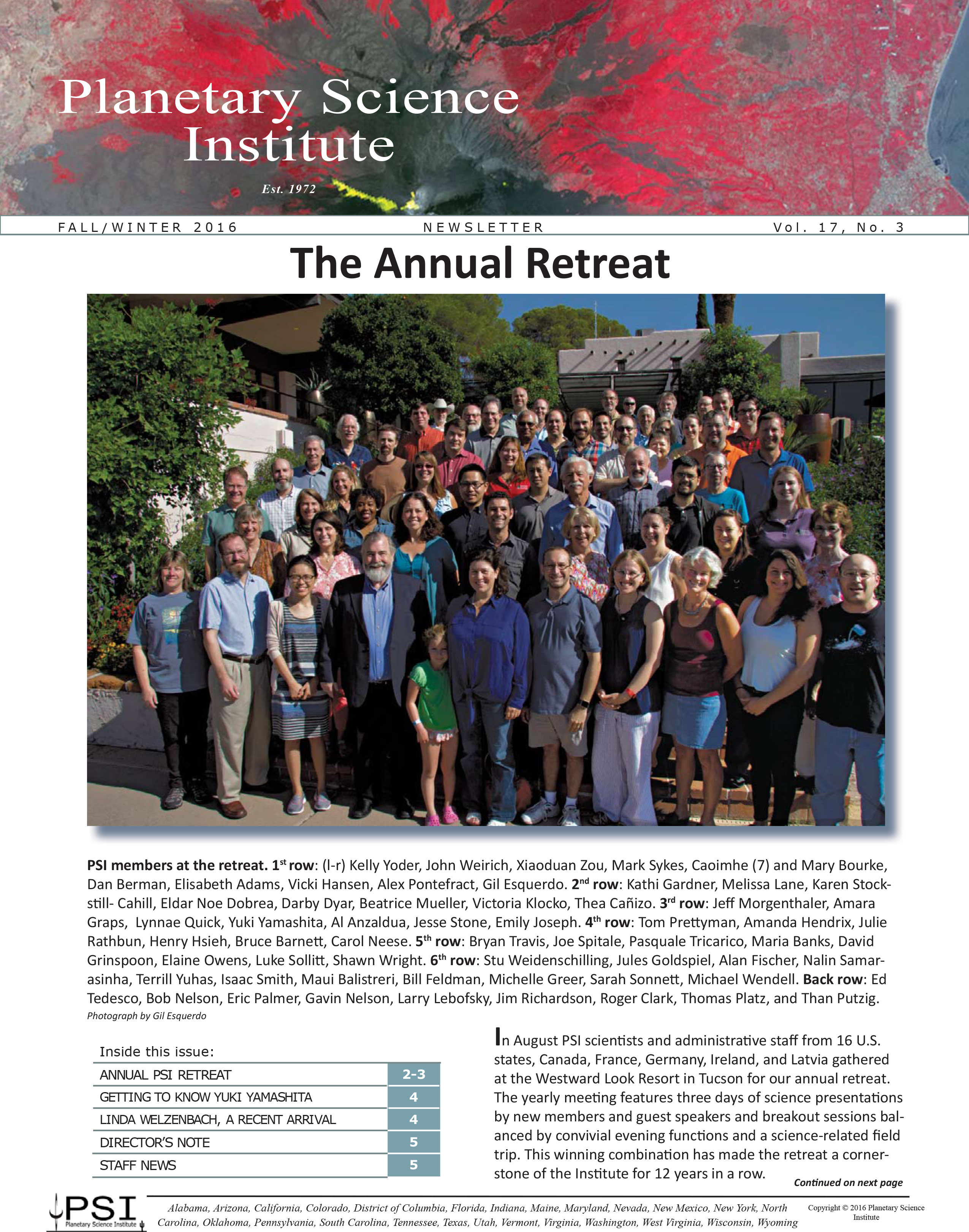 PSI Fall/Winter 2016 Newsletter