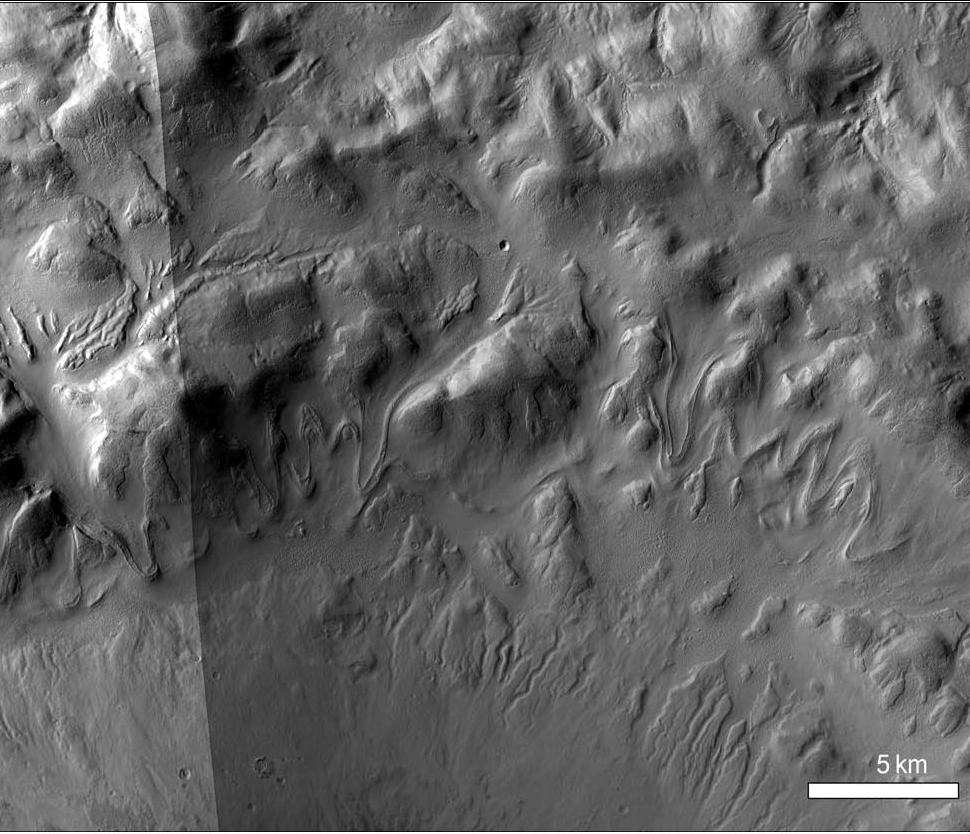 CTX mosaic of north wall of crater