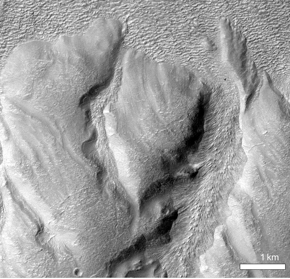 Figure 5b. Close-up view of two valleys in the south wall