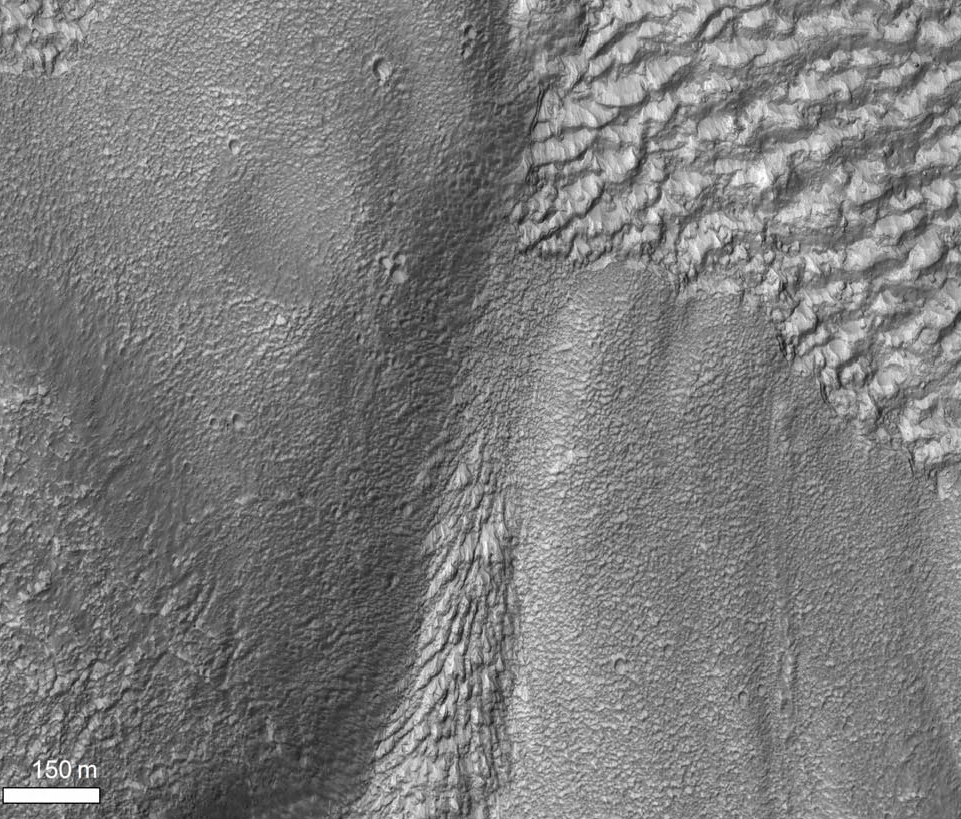 Figure 5d. Detail of image 5b, showing transition from chevron pattern in western valley