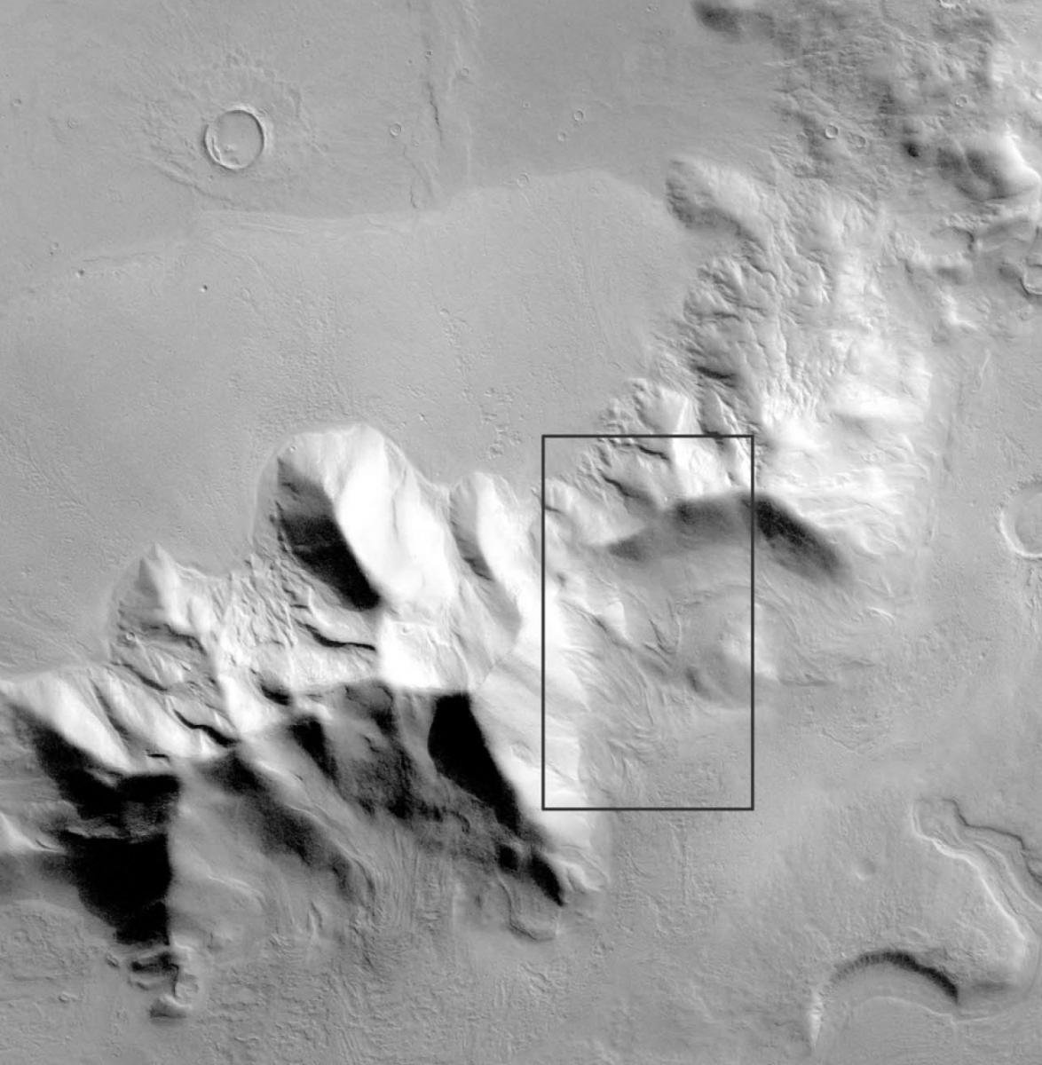Figure 6b. Context image of debris apron near Reull Vallis