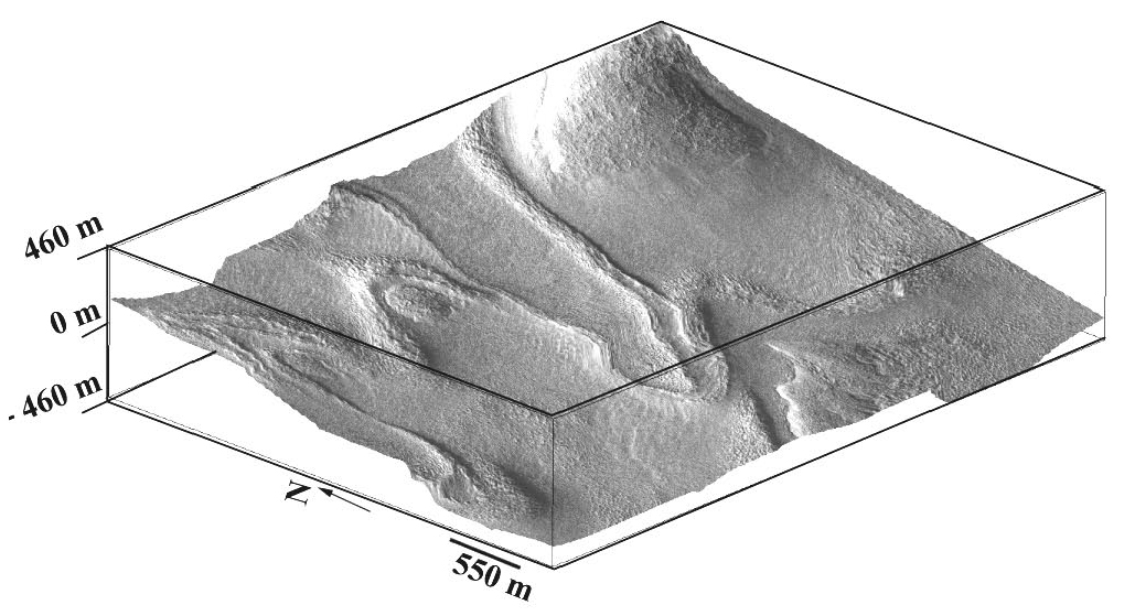 Figure 11b. TIn this oblique view, note how the ice-rich glacial material drapes around a hill just left of the main lobate tongue, as a result of downhill flow.