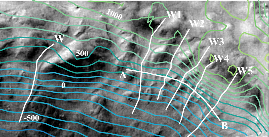 Figure 11c. Northeast wall of Greg, showing example of contours derived by co-author Veronique Ansan