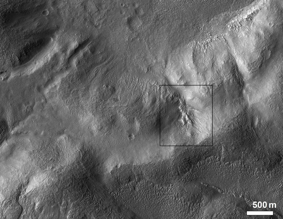 Figure. 19a. Context view with broken north crater rim at bottom.