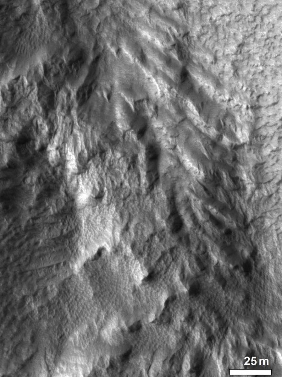 Figure. 19d. Close crop of feature shown in b, showing crudely developed chevron texture similar to that of flows on the similarly-oriented, equator-facing inner south wall of crater Greg.