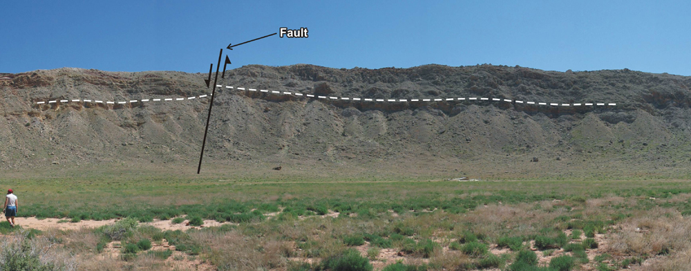 Tear fault at the southeast corner of Barringer Crater