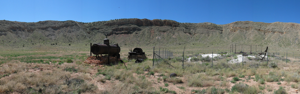 Equipment from drilling operation on the crater floor