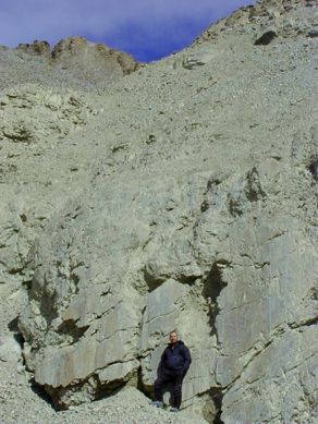 A fault plane along the Lost Valley wall (person for scale)