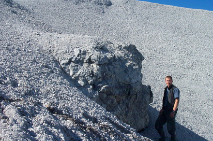 A large block of gneiss in the impact melt breccia (person for scale)