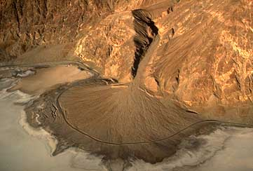 Alluvial fan at the base of a mountain in Death Valley, CA