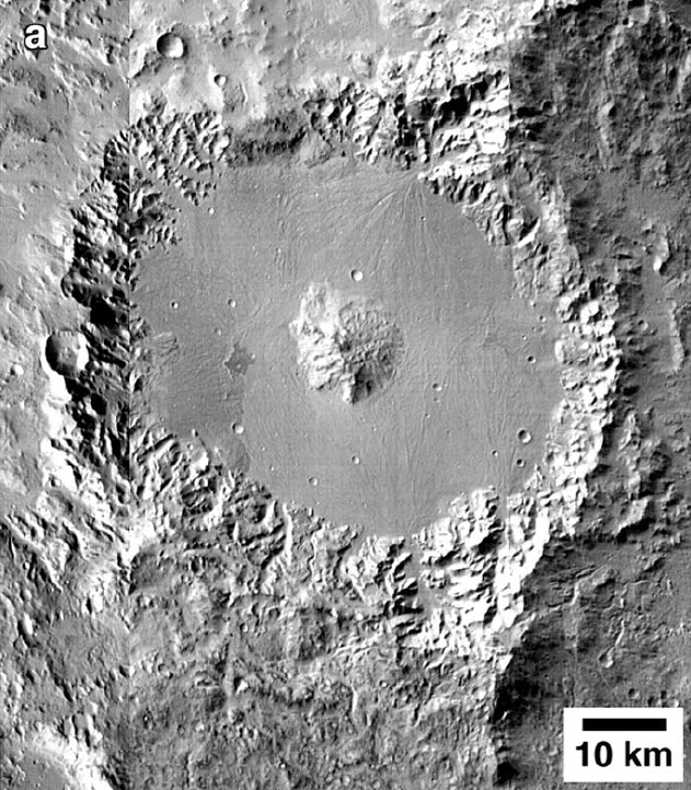Alluvial fans in an un-named impact crater in the northern Hellas region