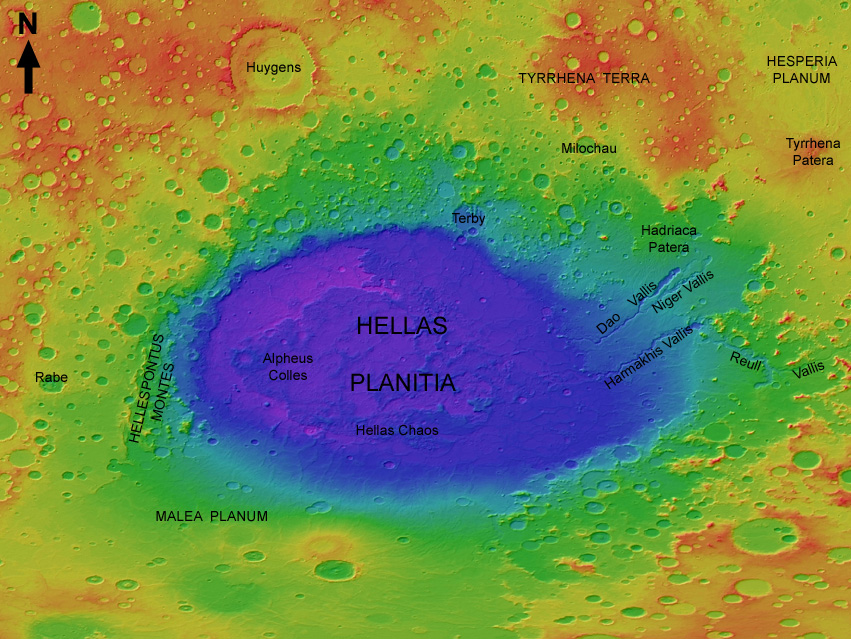 Colorized shaded relief portrayal of the Hellas region