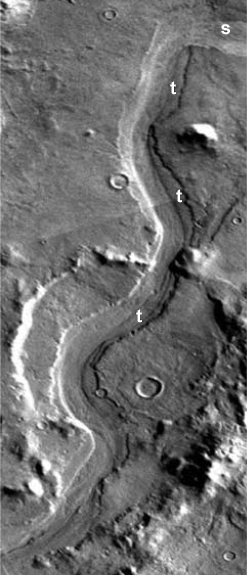 Terraces (t) and scour marks (s) along the channel floor of Reull Vallis