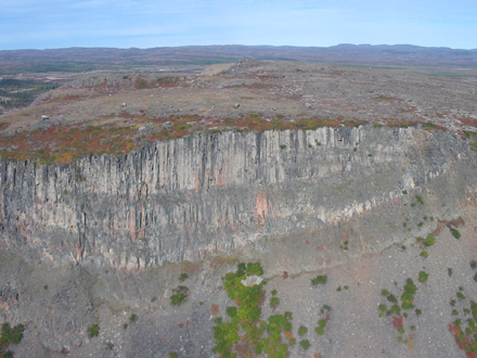 "Aerial view above a 80 meter thick sheet of impact melt rocks. Note the ""columnar joint"" structure of the rocks."