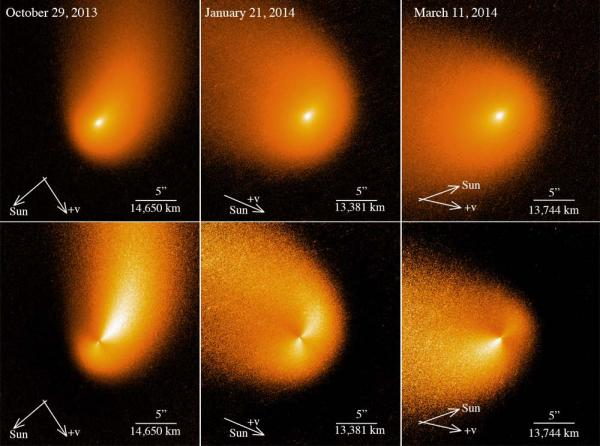 Images of Comet Siding Spring from the Hubble Space Telescope.