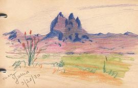 Colored pencil sketch near Yuma, Arizona, March 20, 1930, during the