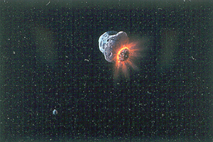 A collision of two asteroids in the asteroid belt