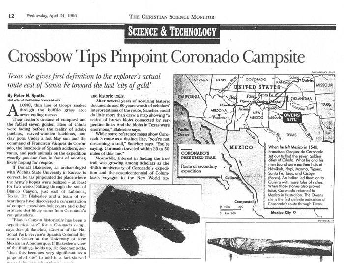 Example of national interest in the discovery of the Texas Campsite- part of a Christian Science Monitor article from April 24, 1996