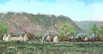A reconstruction of the appearance of the Coronado army campsite. Painted from nature at the site, by William K. Hartmann.