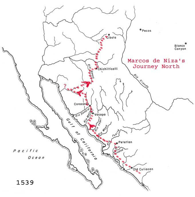 Hypothetical reconstruction of Marcos de Niza's route to the north.