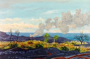340 - Steam Plume from the Kalapana Lava Flow Entering the Sea, Late Afternoon, Hawaii