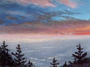 382 - View of Los Angeles and Pasadena at dusk from Mt. Wilson Observatory.
