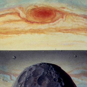 177 - June 23, 1982, Red Spot Over a Satellite at Outer Edge of Jupiter's Ring