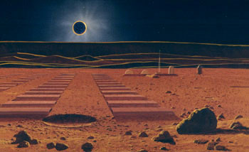 214 - May 1984, The Lunar Base Near the Orientale Basin Scarps During Eclipse