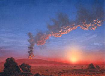 525 - September 2000, Dusk on Mars - Homage to Frederic Church (Martian Volcano in Action)