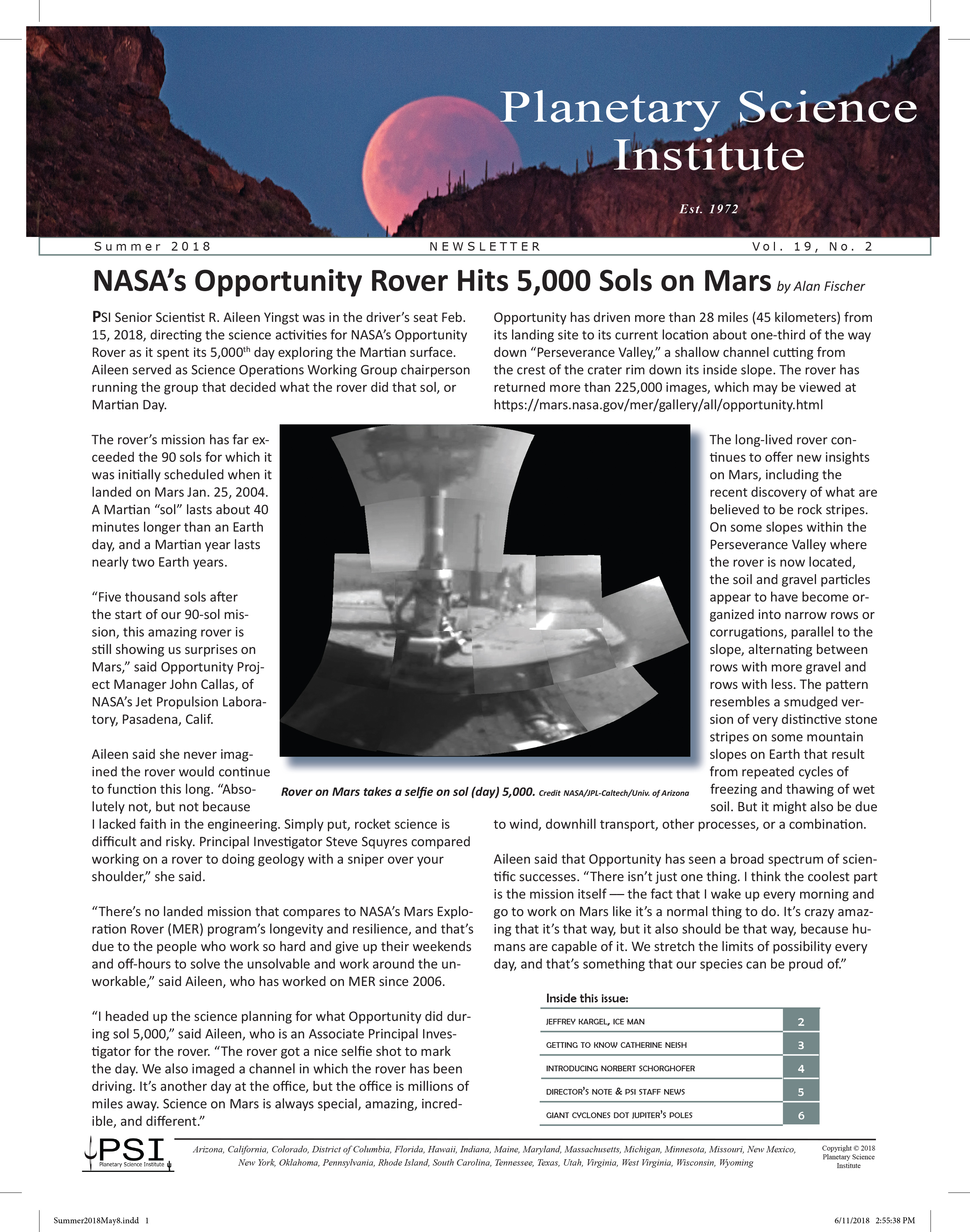 psi newsletter planetary science institute