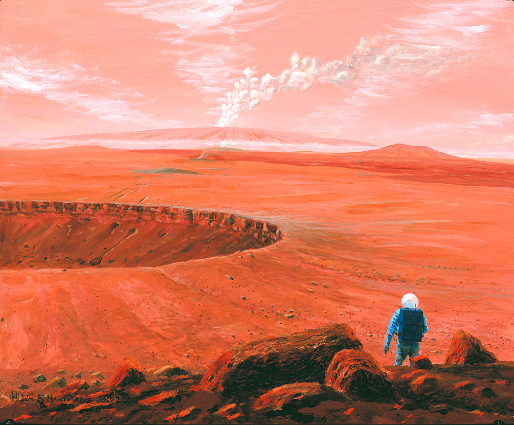 517 - Martian volcanic eruption in the distance