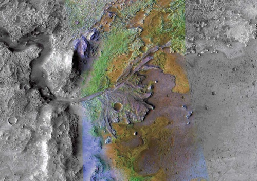 Снимок поверхности Марса (Nili Fossae) в инфракрасном диапазоне, полученный с АМС Mars Reconnaissance Orbiter.
